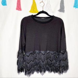 Boohoo Black Fringe Crew Neck Pullover Sweatshirt